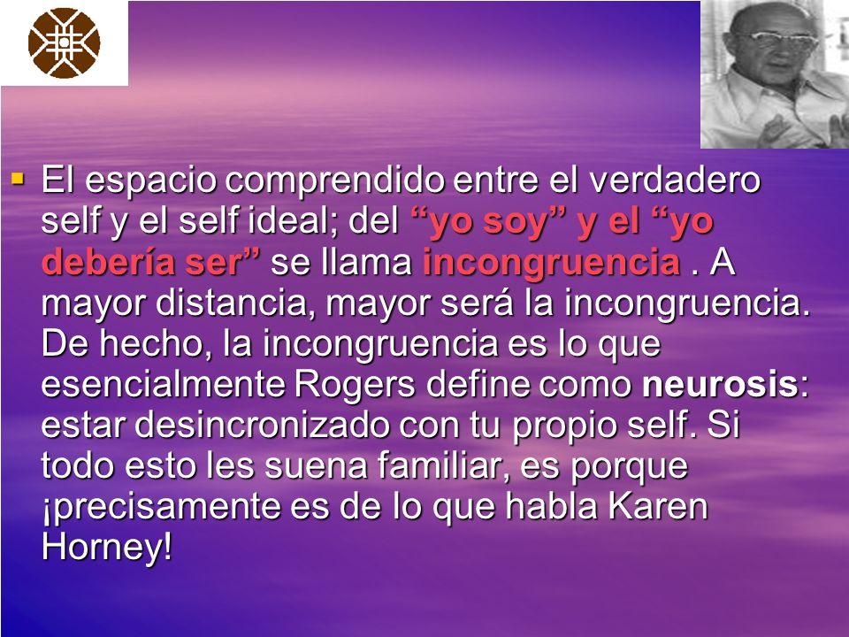 El espacio comprendido entre el verdadero self y el self ideal; del yo soy y el yo debería ser se llama incongruencia .