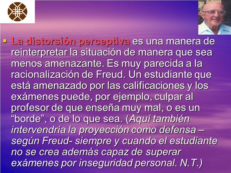 La distorsión perceptiva es una manera de reinterpretar la situación de manera que sea menos amenazante.