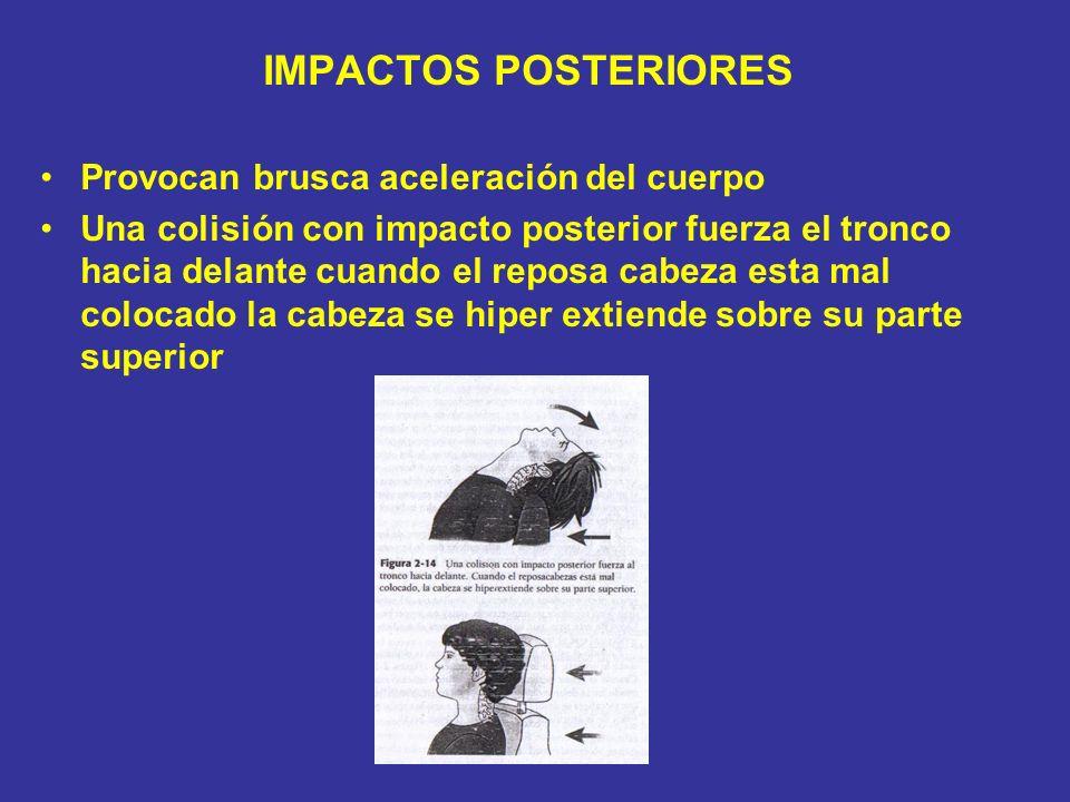 IMPACTOS POSTERIORES Provocan brusca aceleración del cuerpo