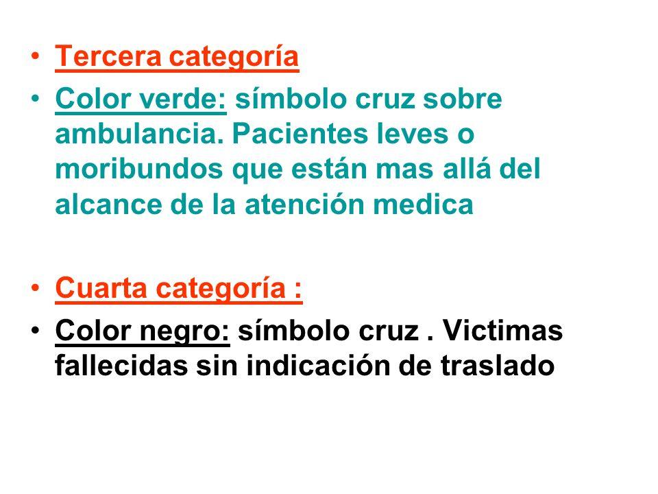 Tercera categoría Color verde: símbolo cruz sobre ambulancia. Pacientes leves o moribundos que están mas allá del alcance de la atención medica.
