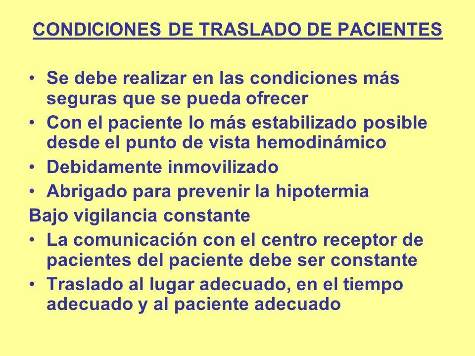 CONDICIONES DE TRASLADO DE PACIENTES