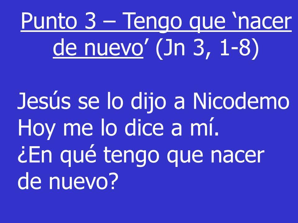 Punto 3 – Tengo que 'nacer de nuevo' (Jn 3, 1-8)