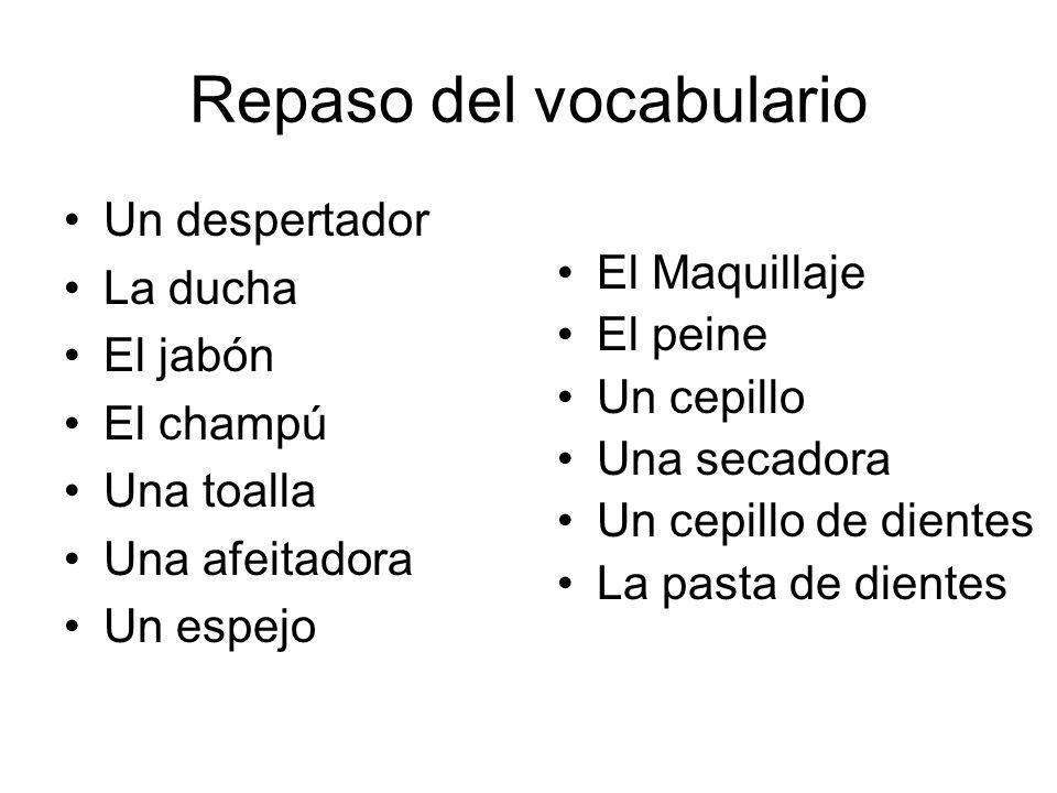 Repaso del vocabulario