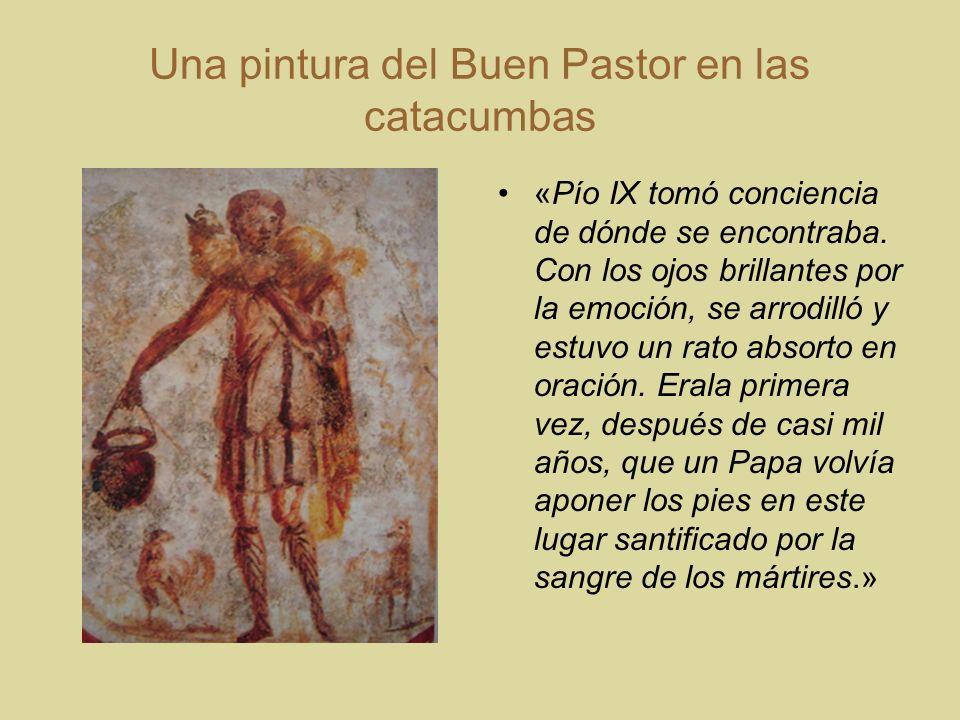 Una pintura del Buen Pastor en las catacumbas