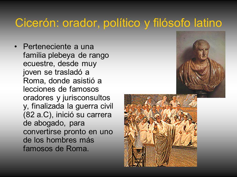 Cicerón: orador, político y filósofo latino