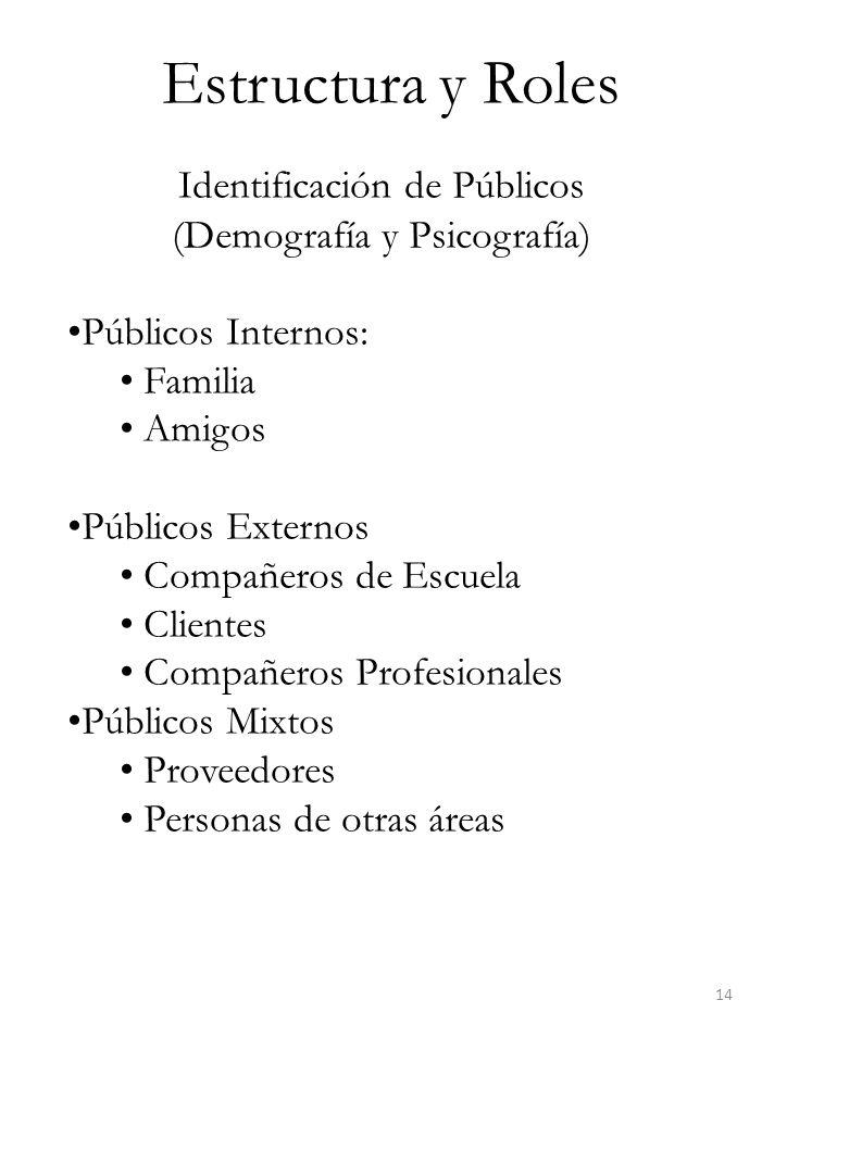 Estructura y Roles Identificación de Públicos