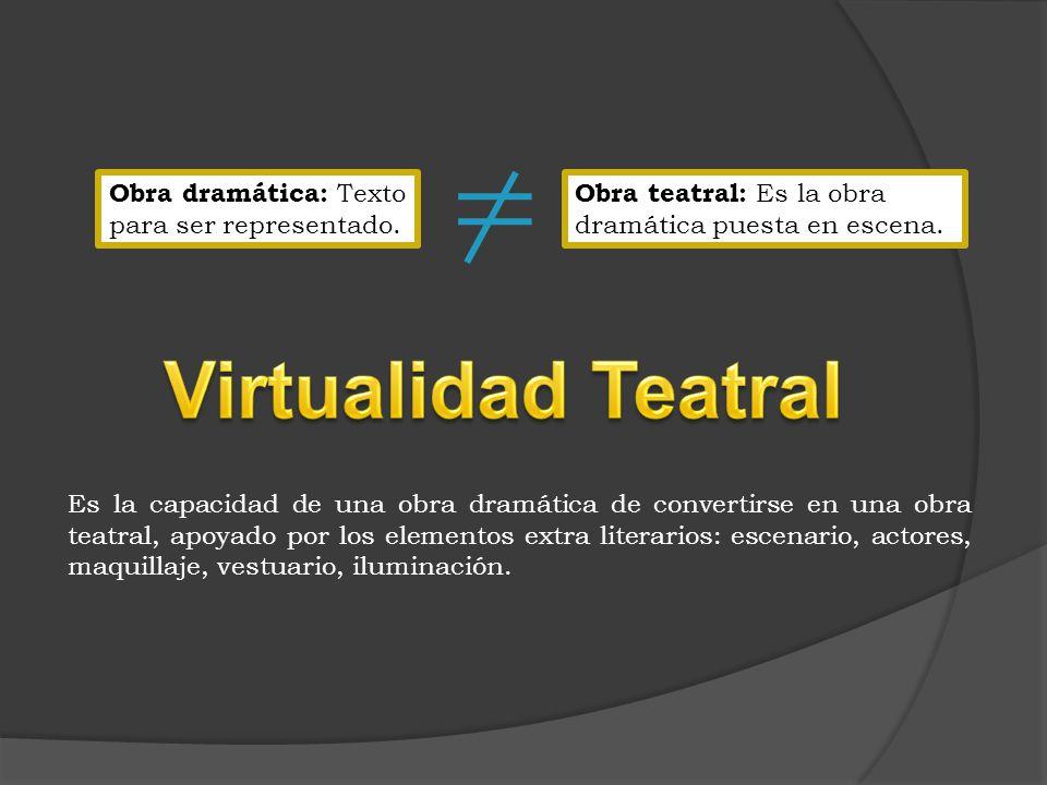 Virtualidad Teatral Obra dramática: Texto para ser representado.