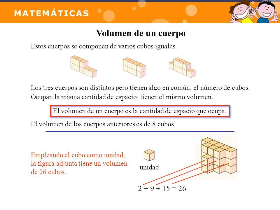 Volumen de un cuerpo 2 + 9 + 15 = 26