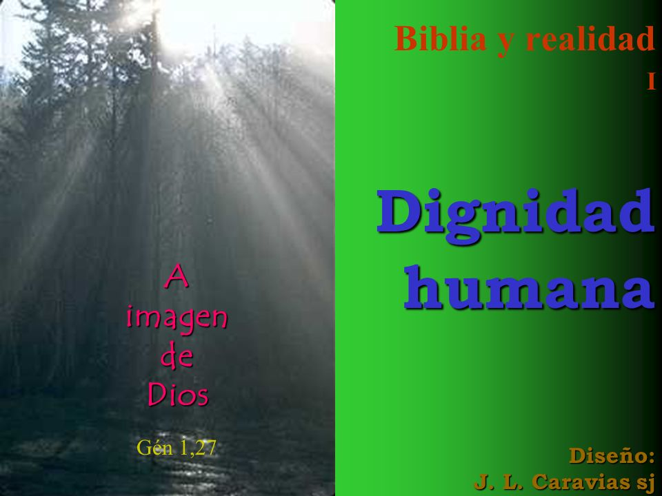 Biblia y realidad I Dignidad humana Diseño: J. L. Caravias sj