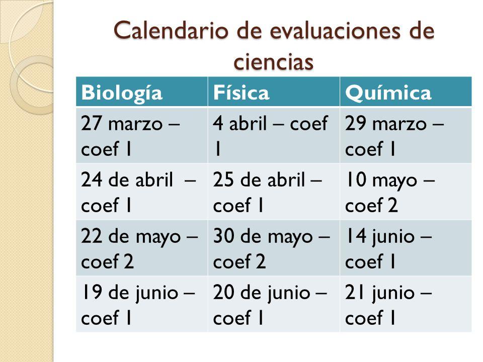 Calendario de evaluaciones de ciencias