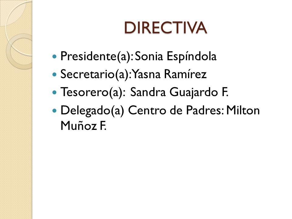 DIRECTIVA Presidente(a): Sonia Espíndola Secretario(a): Yasna Ramírez