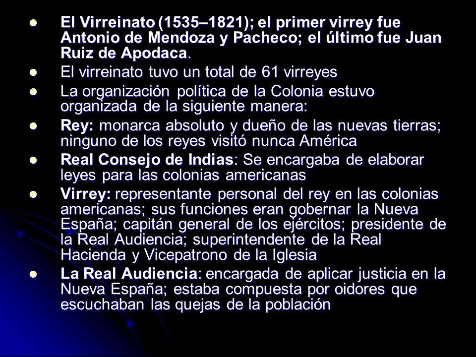 El Virreinato (1535–1821); el primer virrey fue Antonio de Mendoza y Pacheco; el último fue Juan Ruiz de Apodaca.