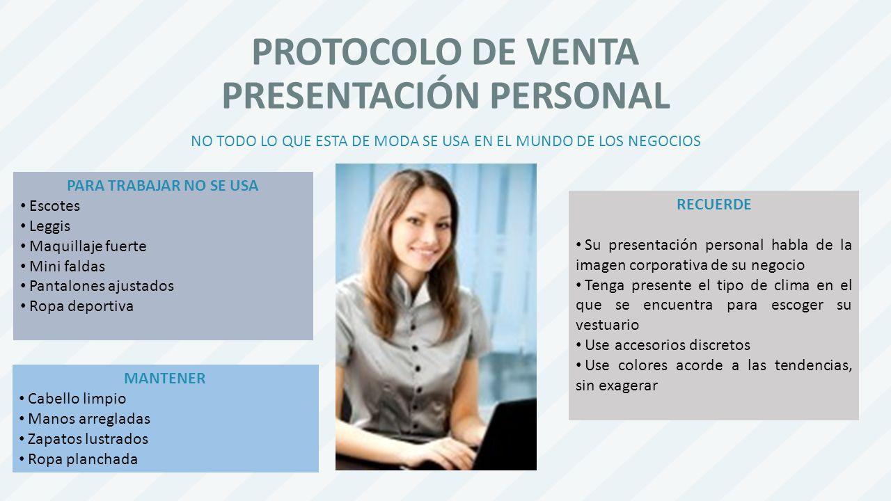 PROTOCOLO DE VENTA PRESENTACIÓN PERSONAL