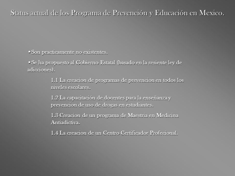 Status actual de los Programa de Prevención y Educación en Mexico.