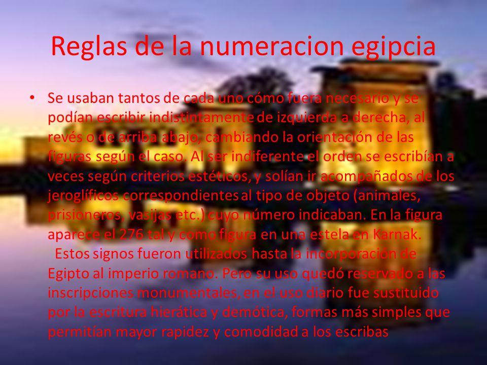 Reglas de la numeracion egipcia