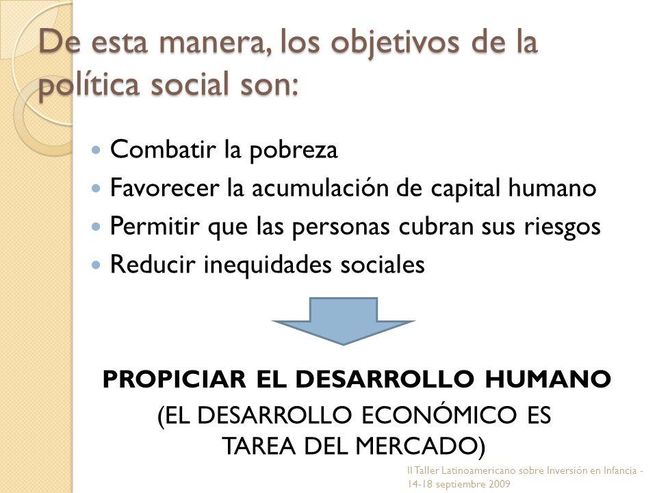 De esta manera, los objetivos de la política social son: