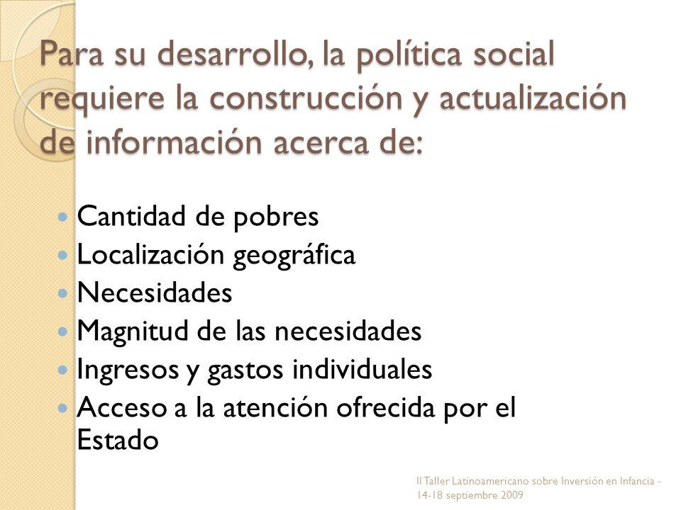 Para su desarrollo, la política social requiere la construcción y actualización de información acerca de: