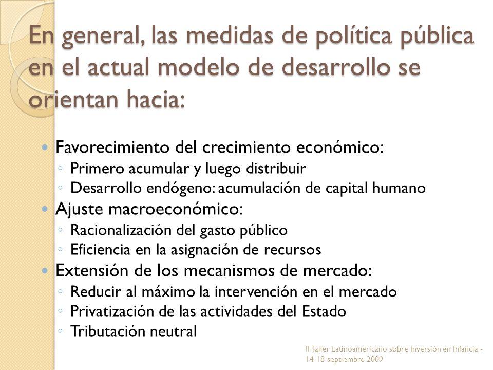En general, las medidas de política pública en el actual modelo de desarrollo se orientan hacia: