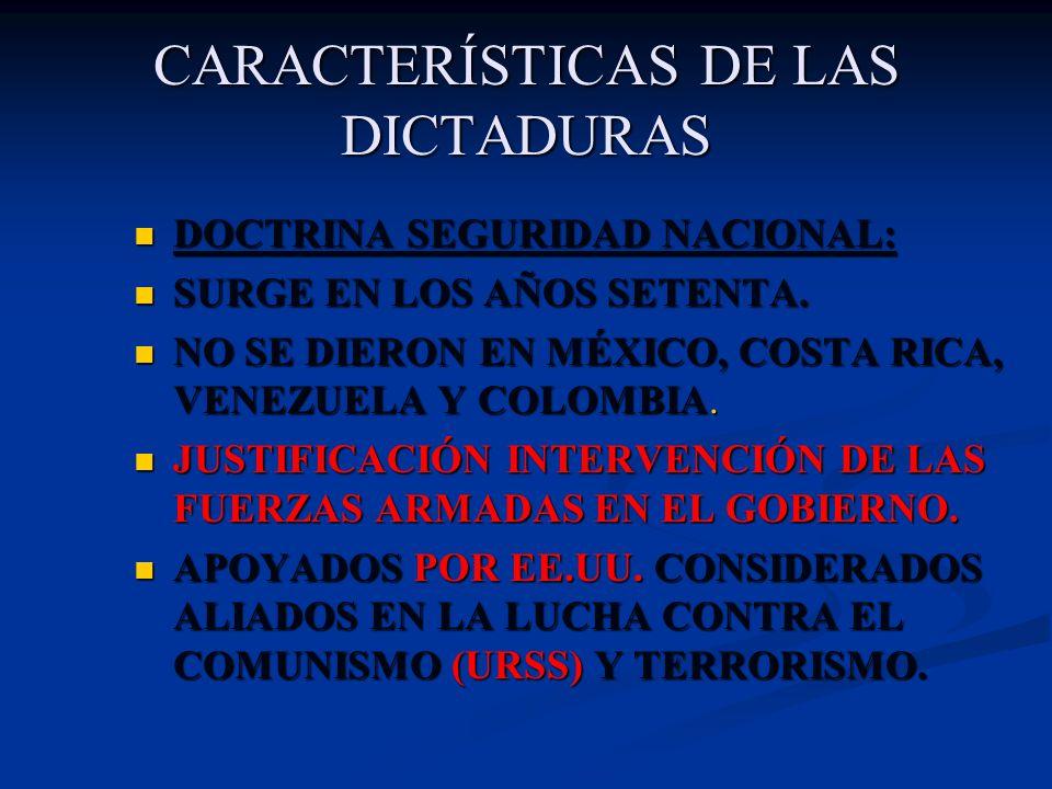 CARACTERÍSTICAS DE LAS DICTADURAS