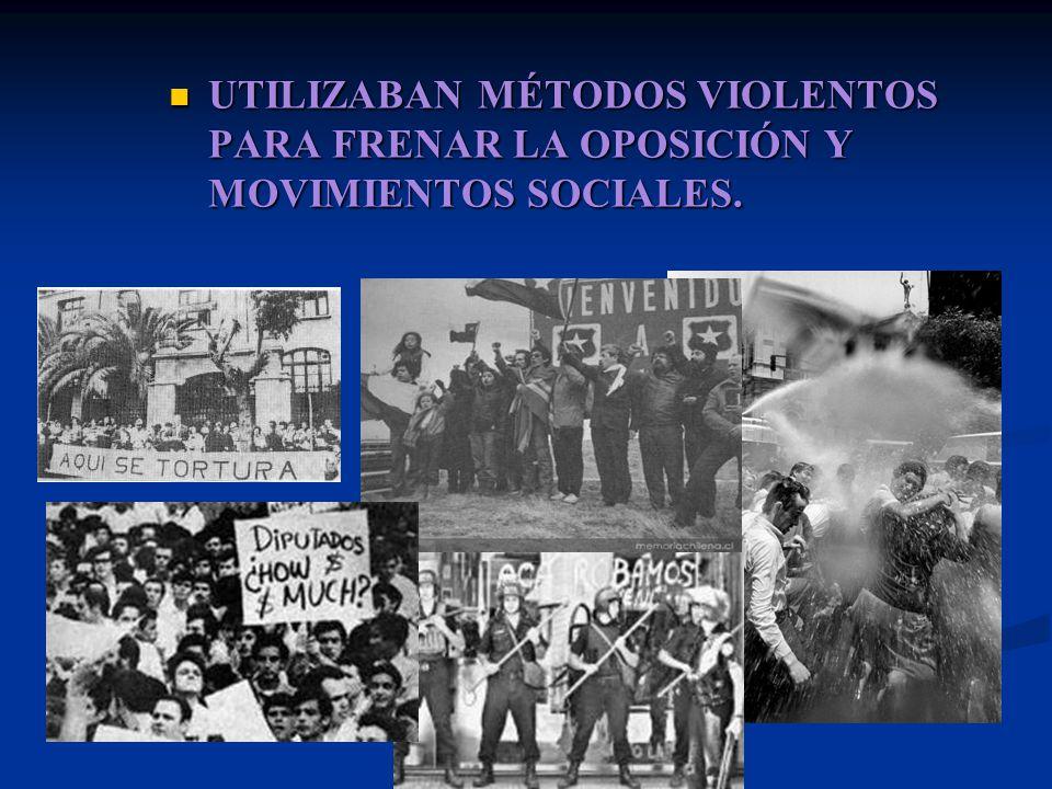 UTILIZABAN MÉTODOS VIOLENTOS PARA FRENAR LA OPOSICIÓN Y MOVIMIENTOS SOCIALES.