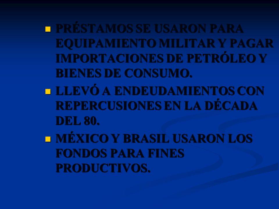PRÉSTAMOS SE USARON PARA EQUIPAMIENTO MILITAR Y PAGAR IMPORTACIONES DE PETRÓLEO Y BIENES DE CONSUMO.