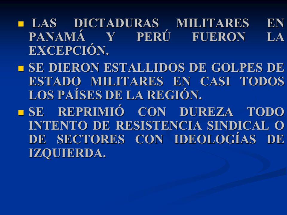 LAS DICTADURAS MILITARES EN PANAMÁ Y PERÚ FUERON LA EXCEPCIÓN.
