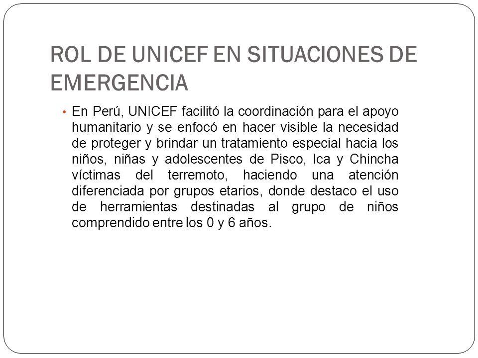 ROL DE UNICEF EN SITUACIONES DE EMERGENCIA