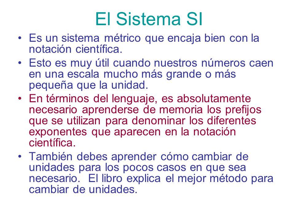 El Sistema SI Es un sistema métrico que encaja bien con la notación científica.