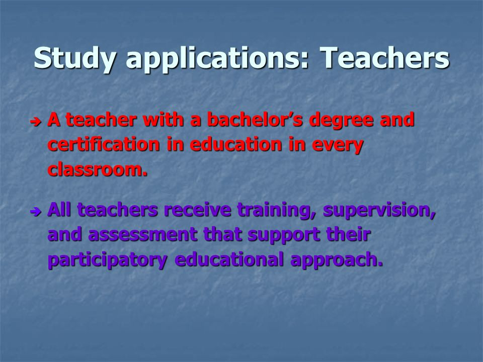 Study applications: Teachers