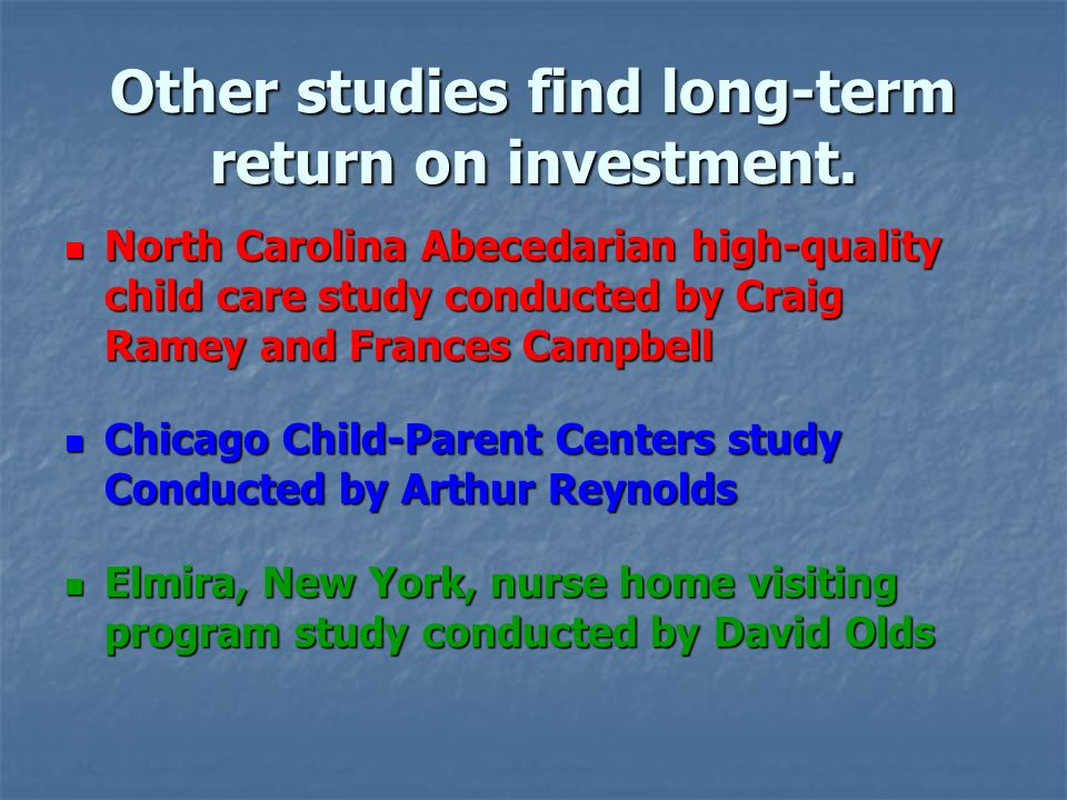Other studies find long-term return on investment.