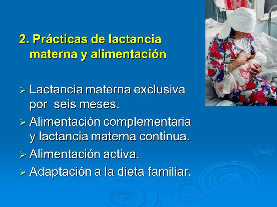 2. Prácticas de lactancia materna y alimentación