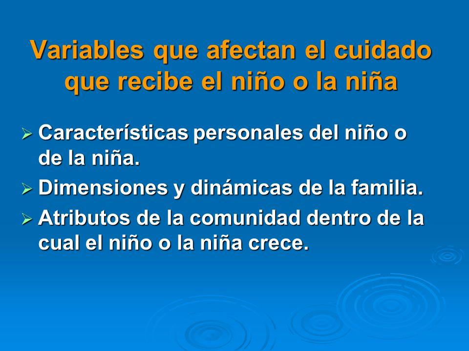 Variables que afectan el cuidado que recibe el niño o la niña