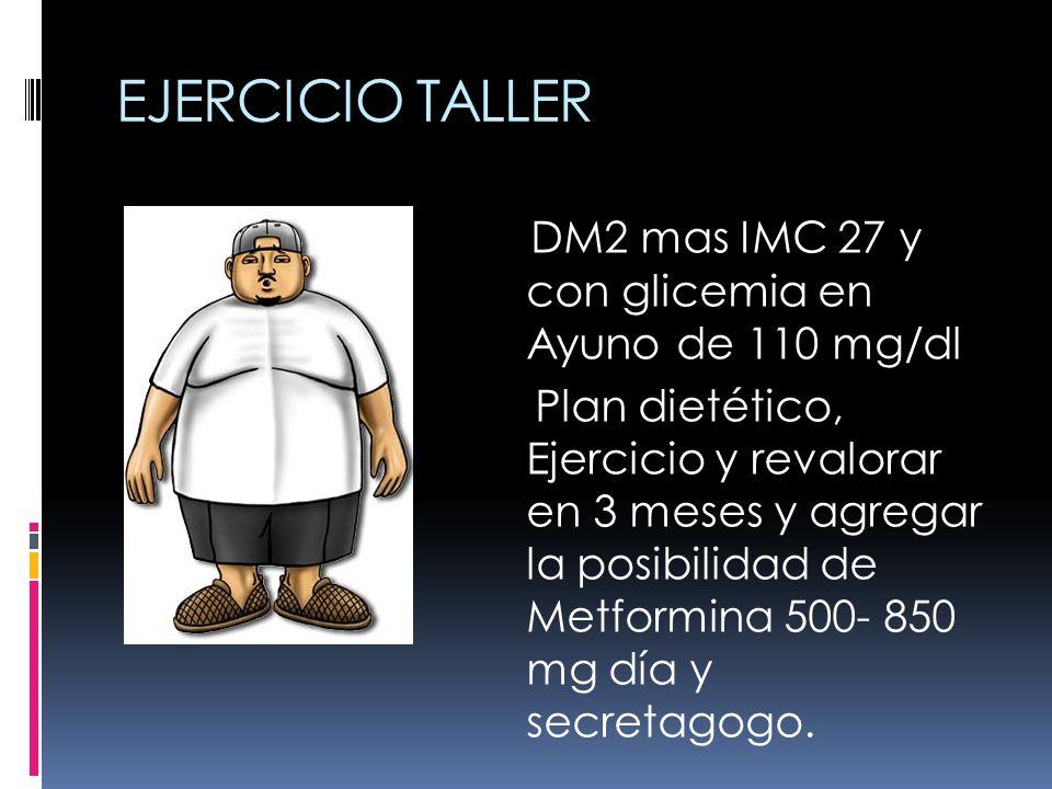 EJERCICIO TALLER 1 DM2 mas IMC 27 y con glicemia en Ayuno de 110 mg/dl