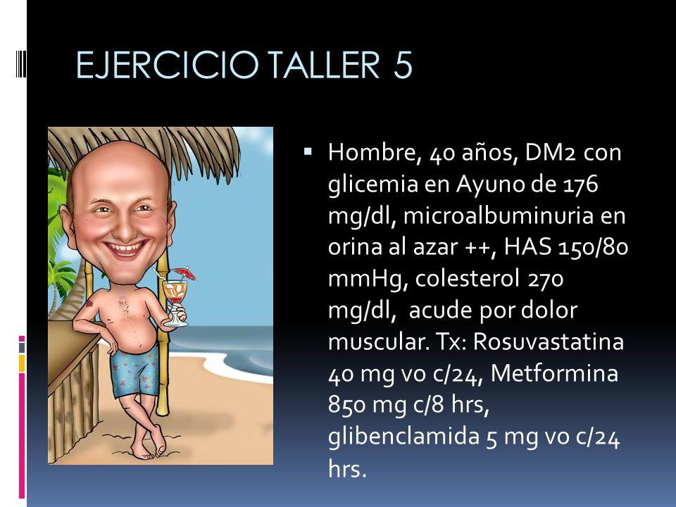EJERCICIO TALLER IMC 25, DM2, glicemia en ayuno menor a 200 y clínicamente estable.