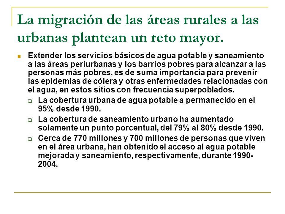 La migración de las áreas rurales a las urbanas plantean un reto mayor.
