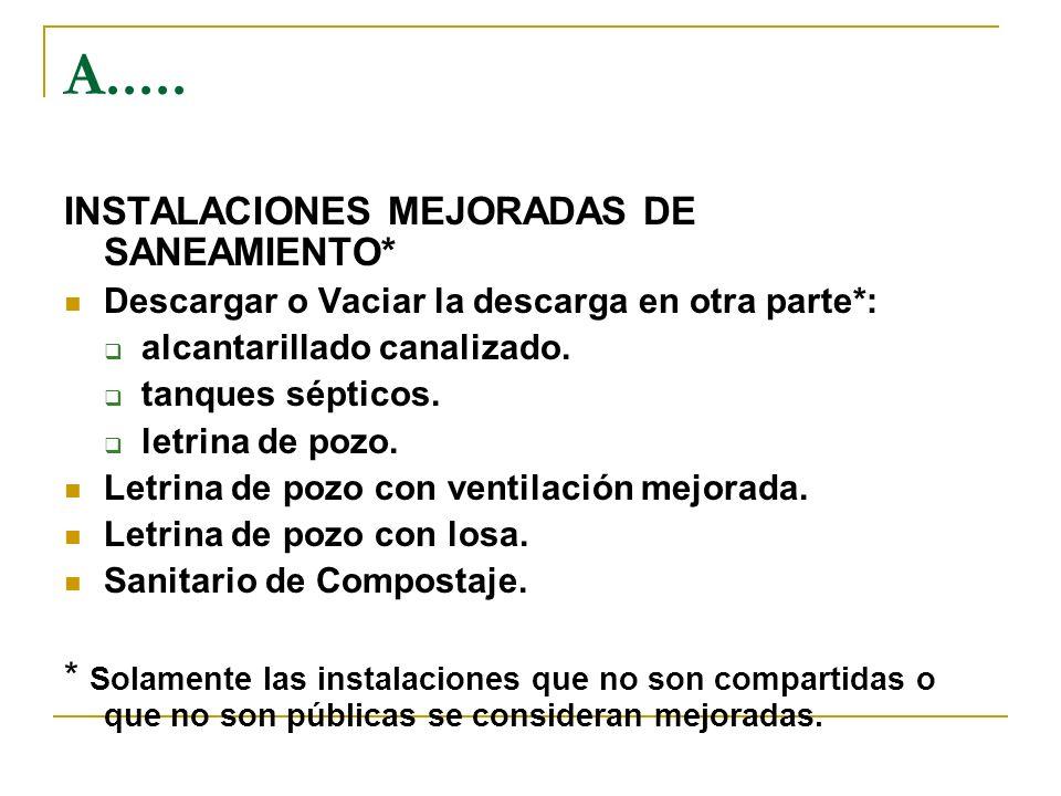 A..... INSTALACIONES MEJORADAS DE SANEAMIENTO*