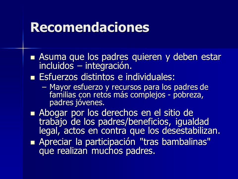 Recomendaciones Asuma que los padres quieren y deben estar incluidos – integración. Esfuerzos distintos e individuales: