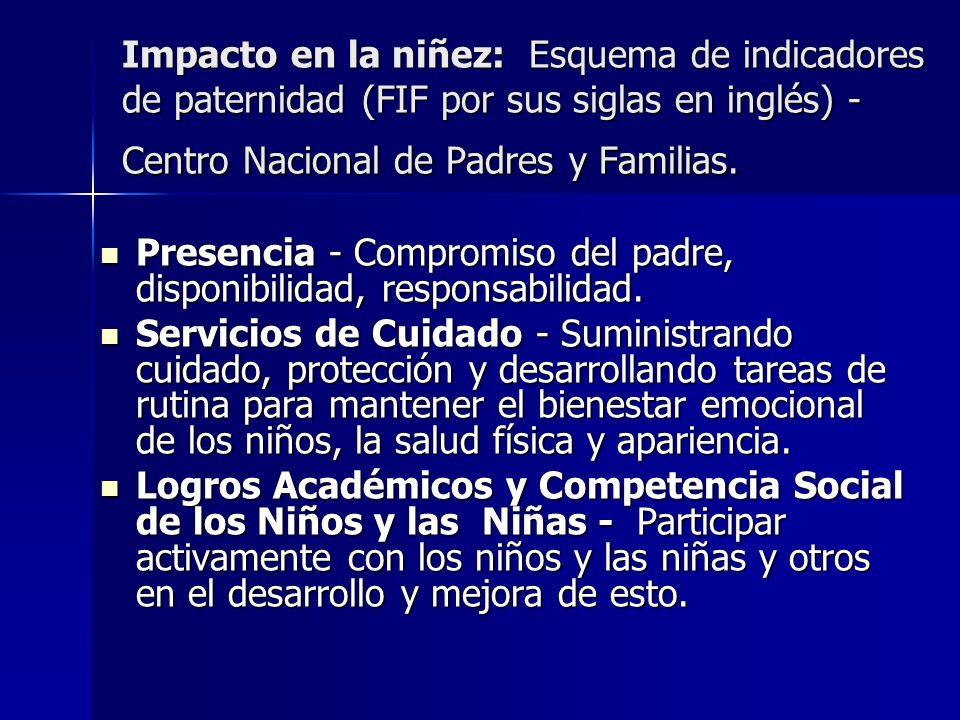 Impacto en la niñez: Esquema de indicadores de paternidad (FIF por sus siglas en inglés) - Centro Nacional de Padres y Familias.