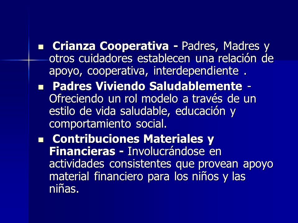 Crianza Cooperativa - Padres, Madres y otros cuidadores establecen una relación de apoyo, cooperativa, interdependiente .