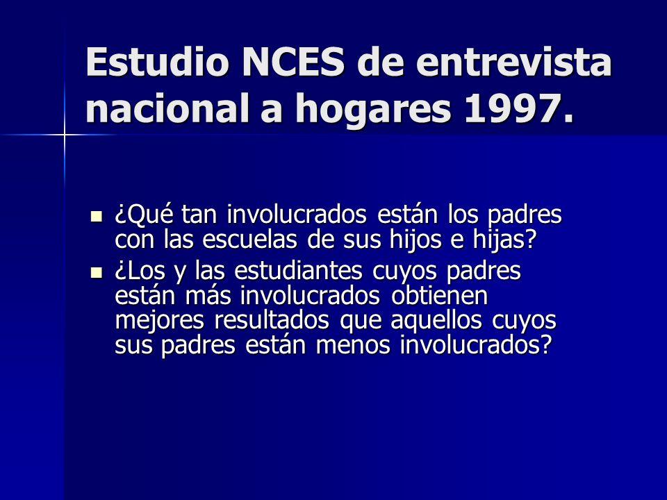 Estudio NCES de entrevista nacional a hogares 1997.