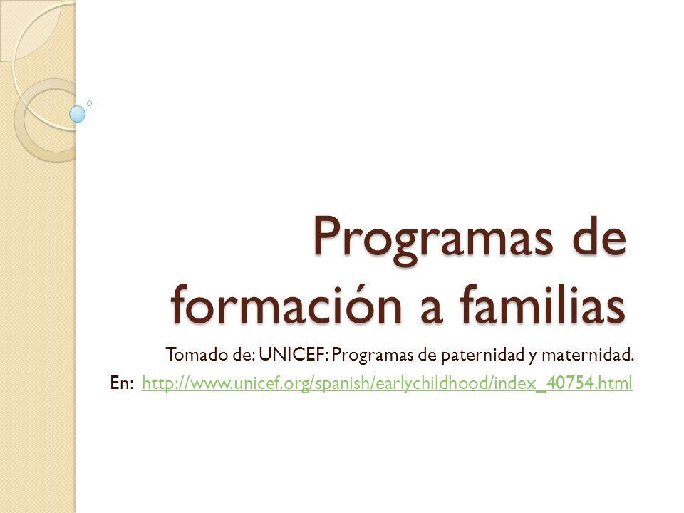Programas de formación a familias