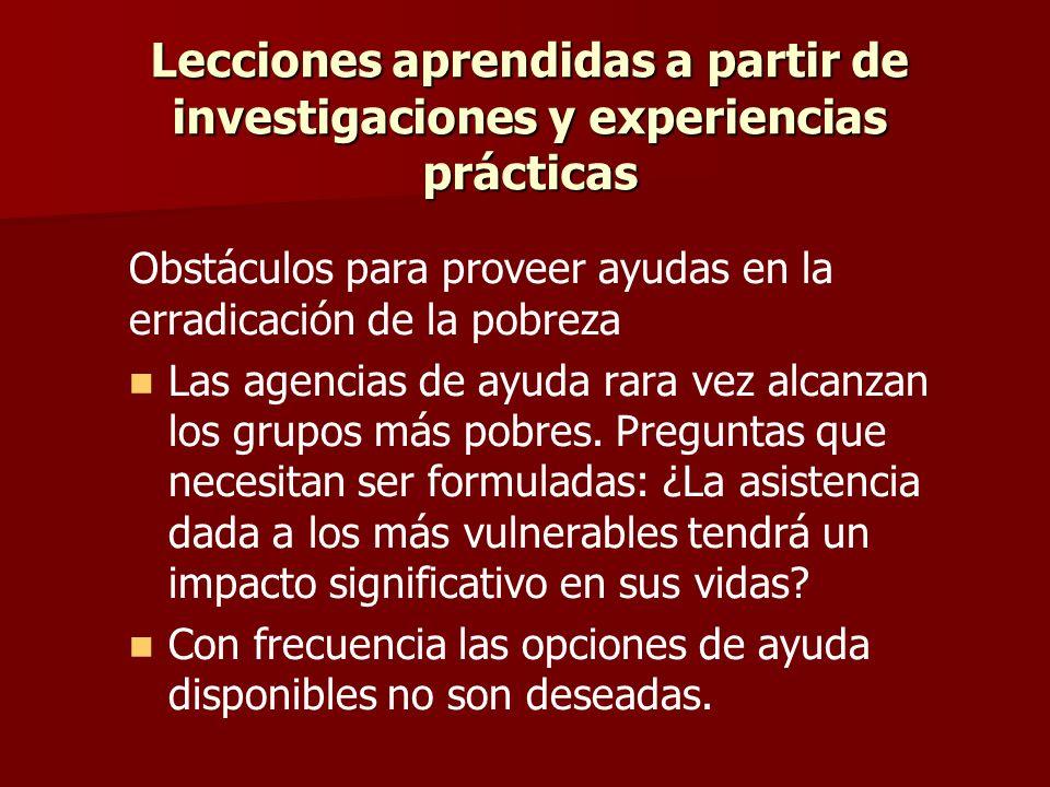 Lecciones aprendidas a partir de investigaciones y experiencias prácticas