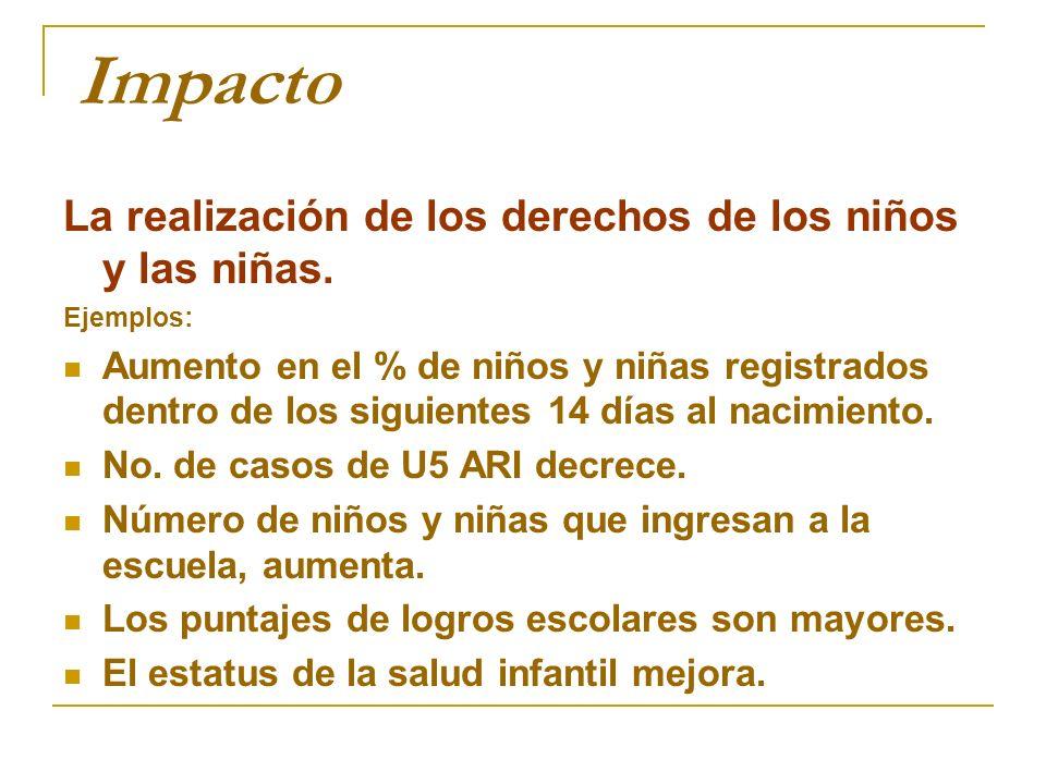 Impacto La realización de los derechos de los niños y las niñas.