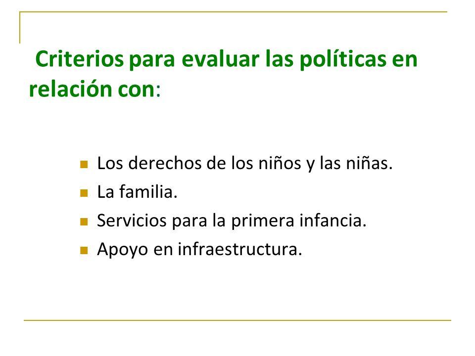 Criterios para evaluar las políticas en relación con: