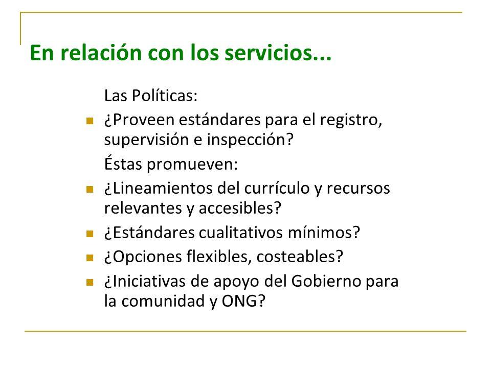 En relación con los servicios...