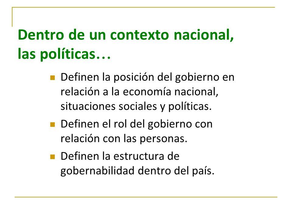 Dentro de un contexto nacional, las políticas…