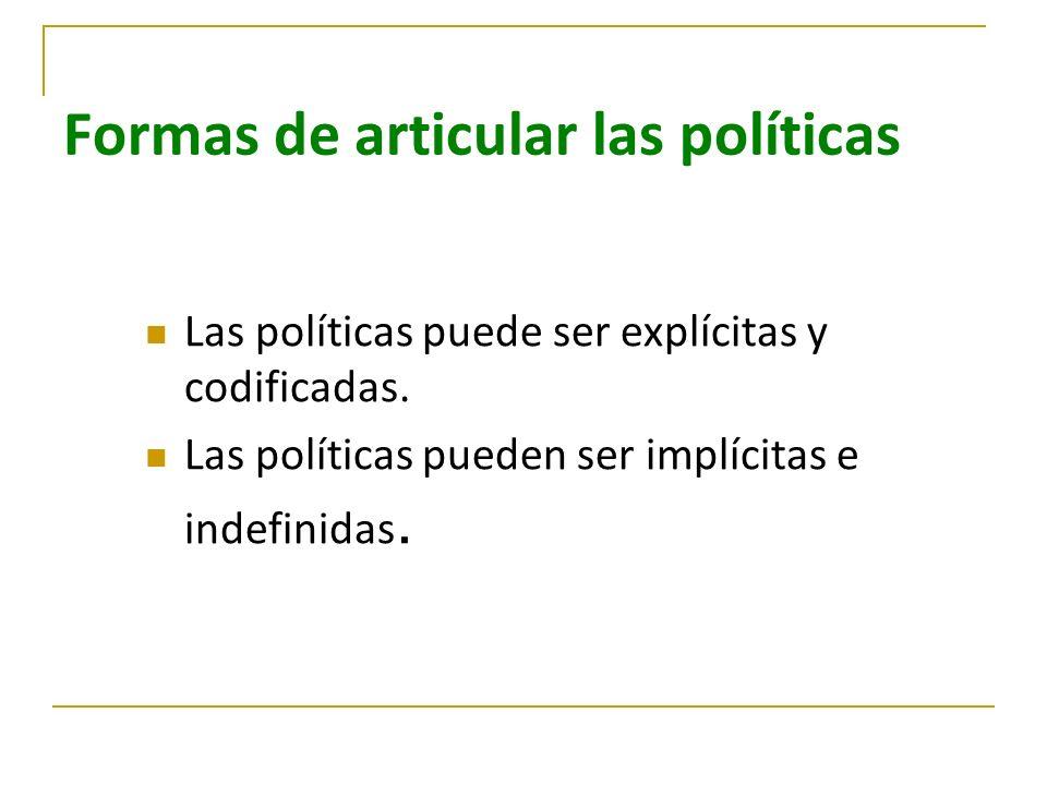 Formas de articular las políticas