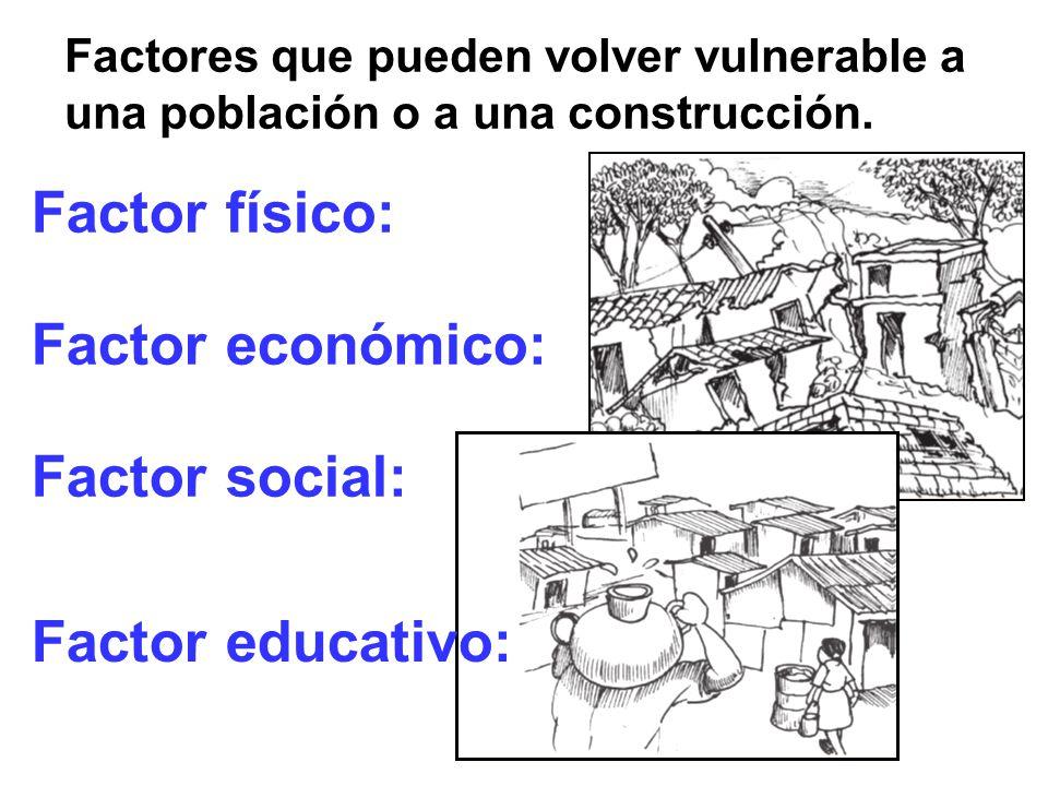 Factor físico: Factor económico: Factor social: Factor educativo: