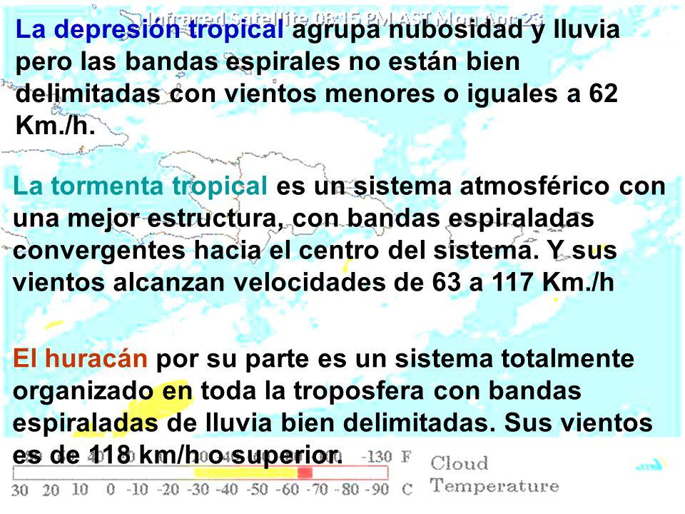 La depresión tropical agrupa nubosidad y lluvia pero las bandas espirales no están bien delimitadas con vientos menores o iguales a 62 Km./h.