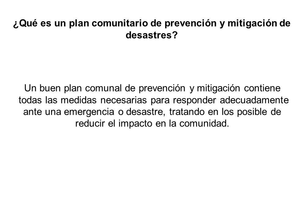 ¿Qué es un plan comunitario de prevención y mitigación de